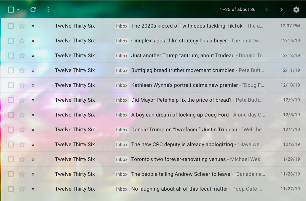 Email inbox showing Twelve Thirty Six emails