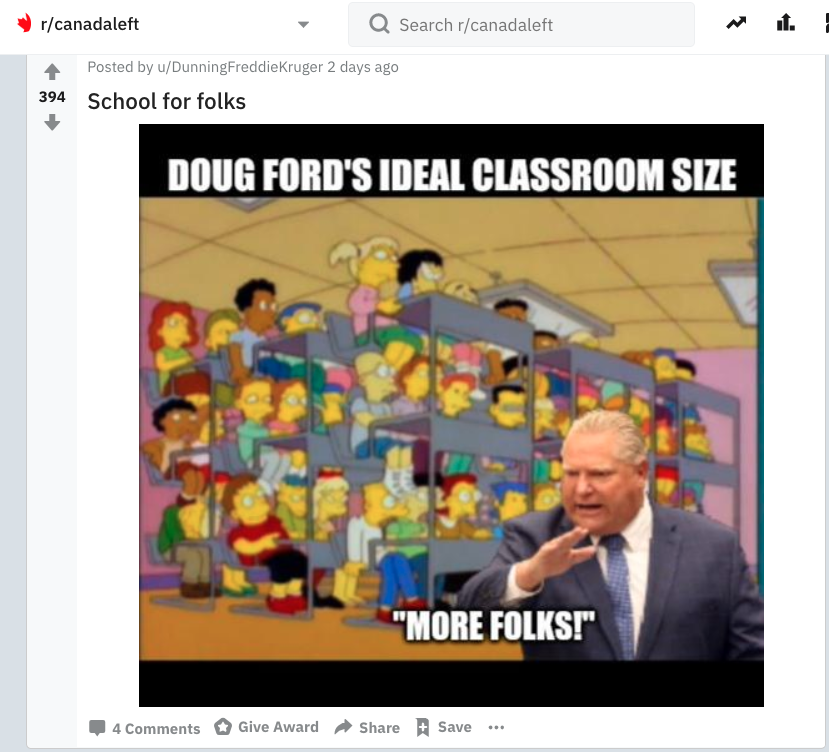 Doug Ford imposed on Simpsons classroom