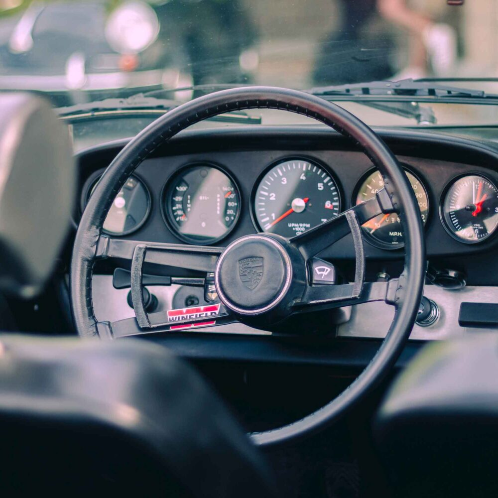 Automobile dashboard and steering wheel