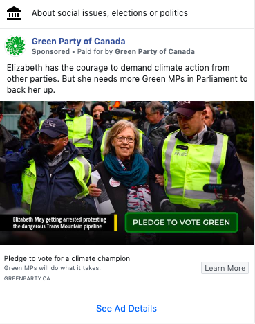 Green party social media post